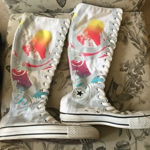 CONVERSE All Star White Paint Swirl XX Hi Sneaker